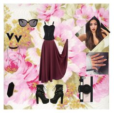 """""""Cranberry Flowers"""" by roxy-crushlings ❤ liked on Polyvore featuring Linda Farrow, Power of Makeup, Kate Spade and Jaeger"""