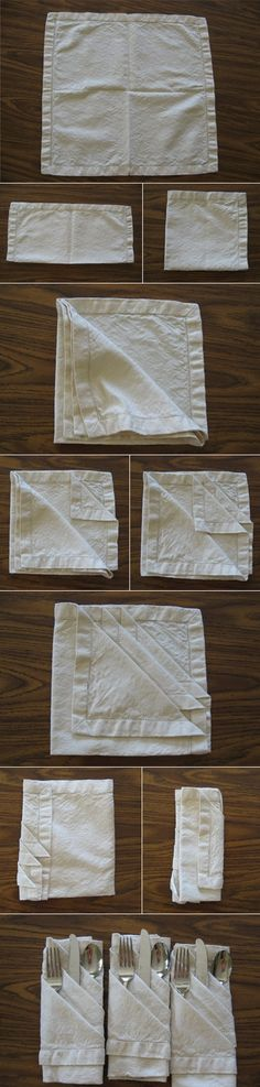 dinner party by julsjewels - how to fold napkins to hold dinnerware