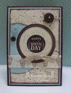 """JAIStamps: Gently Falling, Blue Ribbon, Gorgeous Grunge Card: Chocolate Chip, Soft Sky, Naturals Ivory DSP: Sweater Weather Designer Series Paper Ink: Chocolate Chip, Soft Sky, Sahara Sand stampin' pads Other: Circles collection framelits, 7/8"""" Natural Ribbon, 7/16"""" Natural Trim, sponge daubers, Neutrals buttons, Subtles button, glue dots, Linen Thread"""