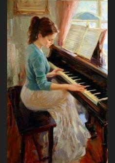 Arte Musical,  Vladimir Volegov - Moça tocando piano  (JA, Nov15)