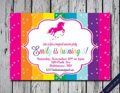 Unicorn Invitation Rainbow Unicorn Birthday di BirdieSaysCawCaw