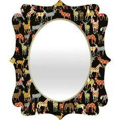 Appliqued ikat deer mirror frame
