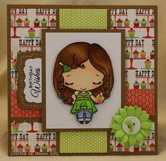 Birthday card using Sweet Anya image from The Greeting Farm and Lime Twist papers from My Mind's Eye
