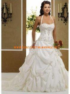 Robe de mariée bustier avec bretelle au cou taffetas
