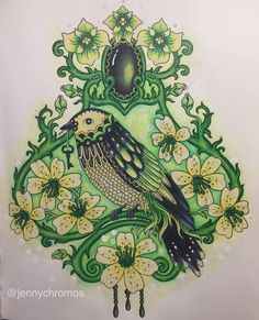 Bird from Tidevarv. Inspired by @faynnn and her Dance of the spring from Dagdrömmar.  #jennychromosfinished #coloriagepouradulte #coloringbook #tidevarv #tidevarvcoloringbook #hannakarlzon #hannakarlzonseasons #hannakarlzontidevarv #målarbok #målarbokförvuxna #luminance #carandache #inktensepencils #inktense #coloring #coloriage #coloringbook
