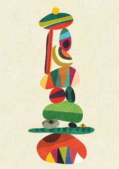 Totem - balanced pebbles Art Print