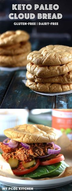 My PCOS Kitchen - Keto Paleo Cloud Bread - Delicious soft gluten-free and dairy-free cloud bread made with creamy mayonnaise. Can be served with a delicious sugar-free and gluten-free bbq pork sandwich! via My PCOS Kitchen Dairy Free Keto Recipes, Dairy Free Low Carb, Low Carb Recipes, Healthy Recipes, Bread Recipes, Paleo Dairy, Whole30 Recipes, Paleo Food, Protein Recipes