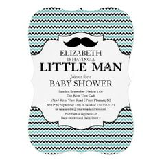 Cute Mustache Bash Boys Baby Shower Custom Invite