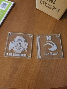 Laser Engraved OSU and Michigan glass coasters.  $25 for set of 4.