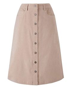 JD Williams Womens Babycord Button Through Skirt Cool Stone 30 Jd Williams, Denim Jumpsuit, Pocket Detail, Cute Woman, Stretch Fabric, Cool Stuff, Stuff To Buy, Formal, Buttons