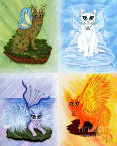Elemental Cats Air, Earth, Fire, Water  - Fine Art America Pixels, Carrie-Hawks.Pixels.com Copyright - Carrie Hawks, Tigerpixie Fantasy Cat Art. More Prints, Jewelry & Gift Items featuring this image are available on my website - Tigerpixie.com