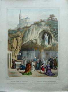 Gravure religieuse de Notre Dame de Lourdes