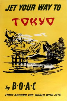 """""""Jet your way to Tokyo"""" BOAC vintage travel poster / 1960s"""