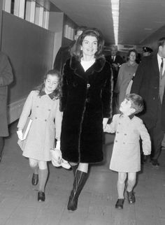 Jackie, Caroline and John at JFK Airport on their way to Switzerland - January 14, 1966