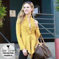 Fall Fashion, In a Ruffle Cardigan-Mustard by Jane Divine Boutique www.janedivine.com