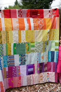 beautiful rainbow scrappy quilt