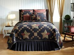 Arlington Navy Blue Country Star Bedding by Victorian Heart is a primitive country style bedding and comes on a navy blue plaid with accenting khaki plaid, 5pt country star patterns to make any bedroom feel relaxed and comfortable.