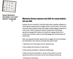 http://www.teacherspayteachers.com/Product/Increasing-Literacy-Skills-in-Students-Who-Use-AAC-a-Resource-500004: $ handout for teachers with strategies for increasing literacy skills in students who use picture based communication.