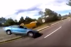 A driver in a Volkswagen Jetta sedan crashed while trying to race a small group of motorcyclists on Highway 95 in Mexico. The crash was caught on video by one of the motorcyclists' helmet camera. After the first motorcycle passes the Jetta on the right, a second bike – the one with the helmet camera – passes between the first bike and the car. As the s…