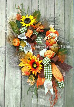 Check out this item in my Etsy shop https://www.etsy.com/listing/241480509/fall-grapevine-pumpkin-wreath-fall