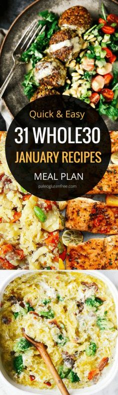 31 days of easy lunch recipes! A quick easy and delicious meal plan for an entire month! Hit your goal with this easily customizable meal plan. Best lunch recipes all in one place. 31 days of lunch recipes! Whole 30 Meal Plan, Whole 30 Lunch, Lunch Recipes, Paleo Recipes, Paleo Meals, Diet Meals, Nutritious Meals, Healthy Meals, Yummy Recipes