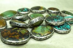 Bead Paradise - African Trade Beads - Stunning Silver set Tibetan Turquoise