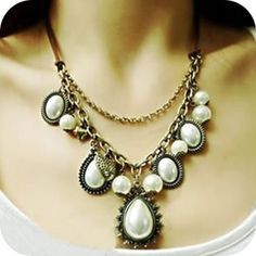 Retro baroque peach heart water drop pearl leather cord necklace ,shop at Costwe.com