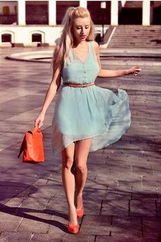 Carrot Orange Bershka Heels, Aquamarine Pull&Bear Dresses, Carrot Orange H&M Bags Cute Dresses, Cute Outfits, Summer Dresses, Summer Outfit, Short Dresses, Sheer Dress, Dress Skirt, Chiffon Dress, Aquamarine Dress