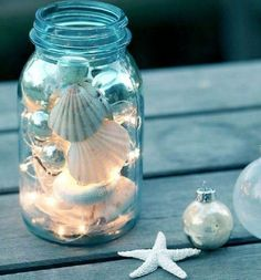 maritime-deco-tinker-deco-with-shells-star-maritime-craft id.- maritime-deco-tinker-deco-with-shells-star-maritime-craft ideas - Pot Mason Diy, Mason Jar Crafts, Mason Jars, Diy Crafts To Do, Beach Crafts, Christmas Jars, Christmas Crafts, Beach Christmas, Diy Jewelry To Sell