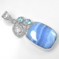 9.03 Gm 925 Sterling silver Natural Blue Lace Agate Blue Topaz Pendant Jewelry $ #Unbranded