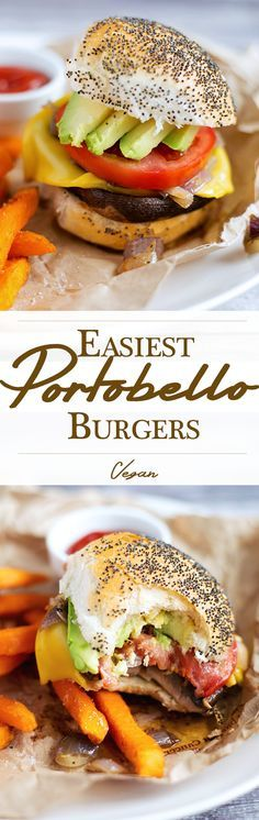 The easiest vegan portobello mushroom burgers with sweet fried onions. Healthy, simple, inexpensive.