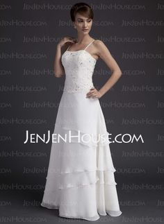 A-Line/Princess Sweetheart Floor-Length Chiffon Satin Wedding Dresses With Lace Beadwork (002011644)