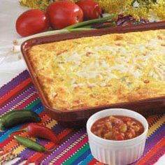 Mexican Egg Casserole - Tomatoes and green chilies give color and zip to this very cheesy egg bake. It makes a hearty breakfast or brunch entree - or you can enjoy a square topped with salsa for lunch or supper. -Mary Steiner, West Bend, Wisconsin