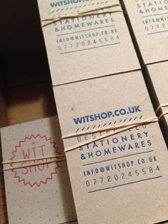 WitShop letterpress business cards