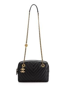 Chanel Black Chevron Quilted Calfskin Leather Camera Case