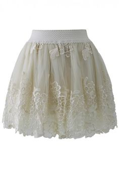 Floral Crochet Organza and Tulle Skirt