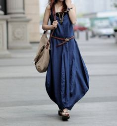 Vneck sleeveless linen dress/Lantern Dress/Bud's long by Focus2013, $59.90