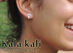 Sterling Silver 14x8 MM Trident Shiva Trishul Earings Studs on Etsy, $27.30