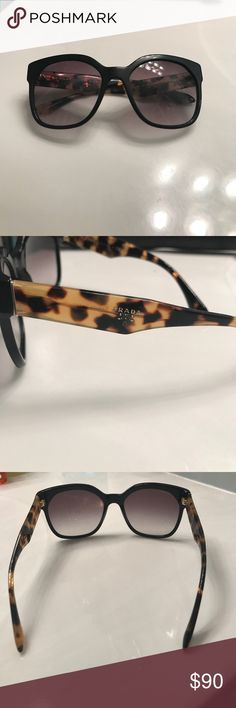 Authentic Prada sunglasses 🕶 Beautiful Prada sunglasses! Black frames and black and brown multicolor on sides. Great condition! Minor scratches on lens. Listed as many pictures and angles as I could get. If interested, feel free to ask any questions! All reasonable offers will be accepted.☺️💕🕶 Prada Accessories Glasses