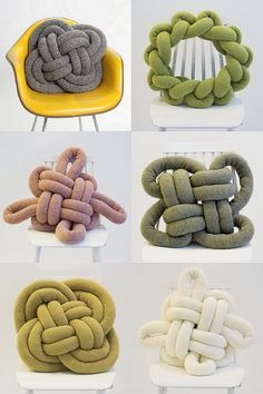 Notknot Pillows ---- DIY using a knit tube: http://www.inspirationrealisation.com/2014/02/diy-tubular-machine-knitting-and-knot.html.