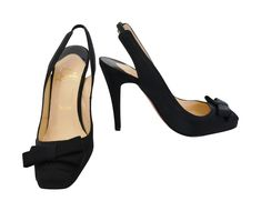5087a989123 Christian Louboutin Black Sling Back Heels Designer Resale