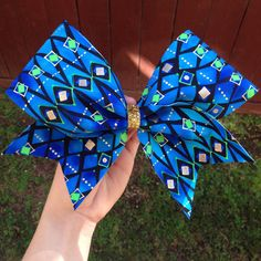 blue patterned cheer bow by BowSugar on Etsy https://www.etsy.com/listing/203527405/blue-patterned-cheer-bow