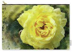 Clutch Bag, Yellow Rose Clutch, Ladies Clutch, Makeup Travel Bag, Makeup Bag, Zipper Pouch, Cosmetics Bag, iPad Clutch, Brides Maid Gift