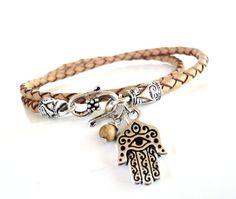 Hamsa Leather Wrap Bracelet Braided Yoga by BohemianEarthDesigns, $34.95