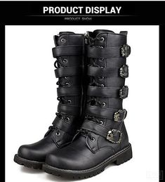 82fe61c96b9 Motorcycle Boots Men Punk Martin PU Leather Boots Moto Steampunk Boots Belt  Buckle Military Boots Mid-calf Shoes Protective Gear
