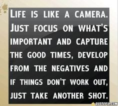 Monday Motivational Quotes. Life is like a camera...and other great quotes.