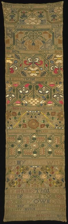 Linen sampler embroidered with silk, by unknown maker, England, 1650-1700. Museum no. 480-1894