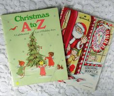 Two Vintage Hallmark Christmas Booklets Ephemera Coloring Book Alphabet 1070s