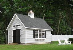 14' x 20' Vinyl Elite Cape with Heritage Gray siding by Kloter Farms Shed Design, Garage Design, Boat Garage, Grey Siding, Farm Shed, Custom Sheds, Backyard Pavilion, Garage Renovation, Grey Houses