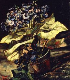 Vincent Van Gogh - Cineraria in a Flowerpot, 1886. Oil on canvas, 54.5 x 46 cm
